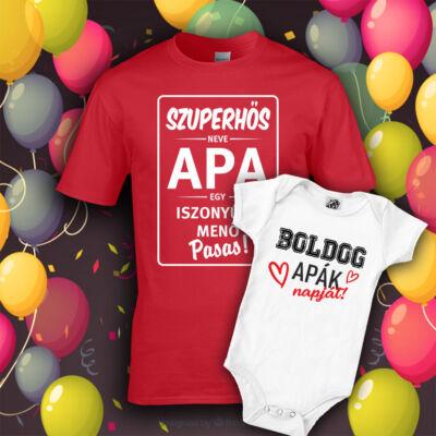 Boldog Apák Napját csomag (Piros - fehér)