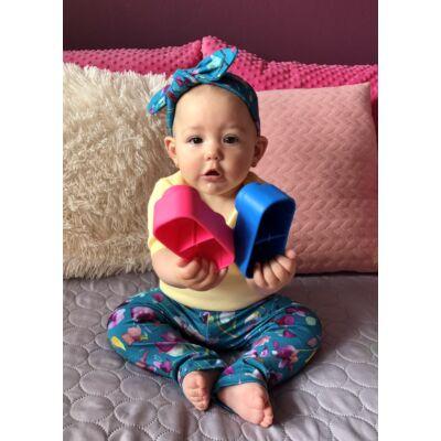 Kék és lila virágos leggings és hajpánt