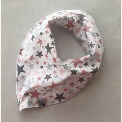 Nyálfogó kendő - Csillagok (Szürke és rózsaszín)