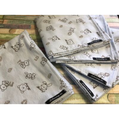 Textil Pelenka Halványkék - Maci és nyuszi (1 db)