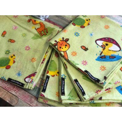 Textil Pelenka Zöld - Zsiráf és barátai (1 db)