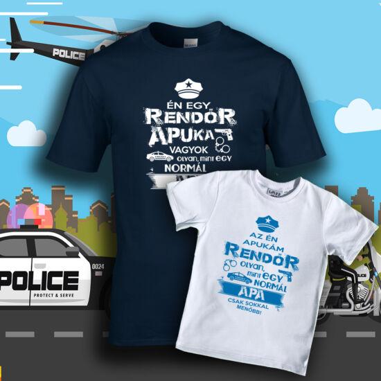 Rendőr Apuka Családi csomag (Mélykék - fehér)