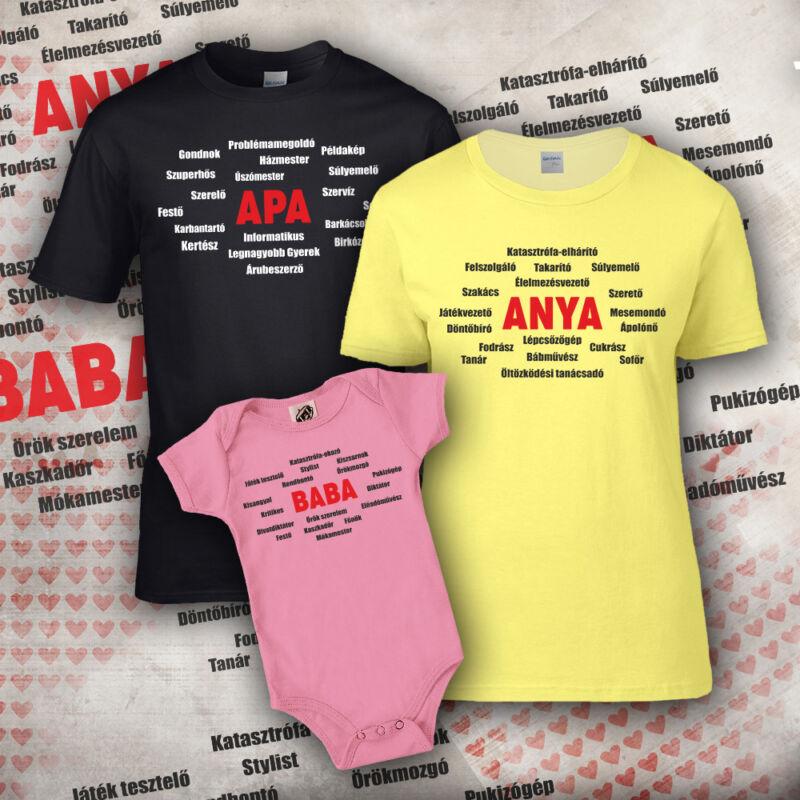 Anya-apa-baba listája (sárga, fekete, rózsaszín)